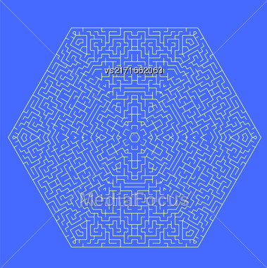 Labyrinth Isolated On Blue Background. Kids Maze Stock Photo