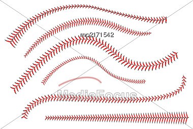 Lace From A Baseball On A White Background. Vector Illustration Stock Photo