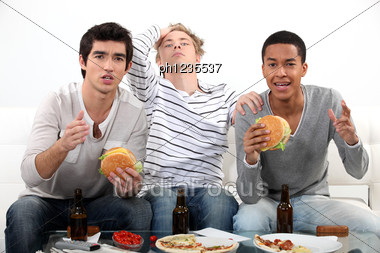 Lads Watching Television Stock Photo