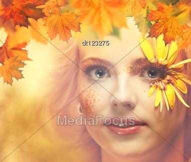 Lady Autumn. Seasonal Female Portrait For Your Design Stock Photo
