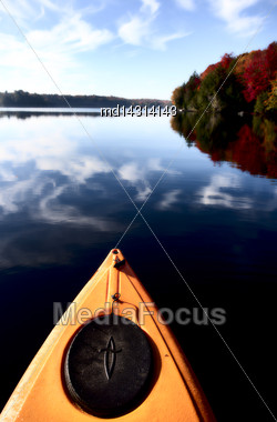 Lake In Autumn Algonquin Muskoka Ontario Colors Stock Photo