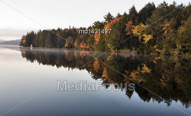 Lake In Autumn Algonquin Muskoka Ontario Colors Stock Photo