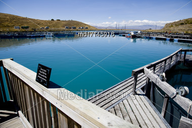 Lake Benmore Salmon Farm South Island New Zealand Stock Photo
