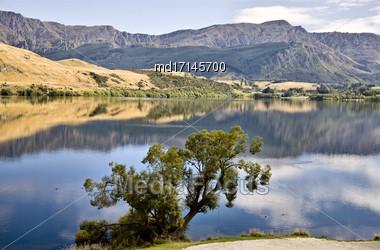 Lake Hayes New Zealand South Island Reflection Stock Photo