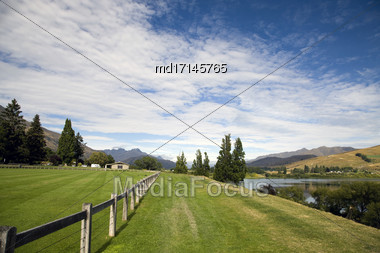Lake Hayes New Zealand South Island Reflection Stock Photo