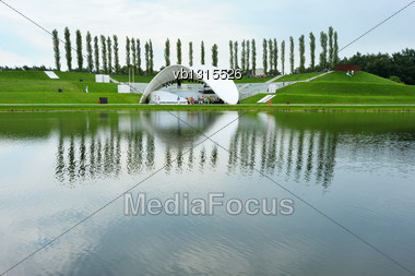 Lake In The Park, Stage For Performances On The Shore Stock Photo