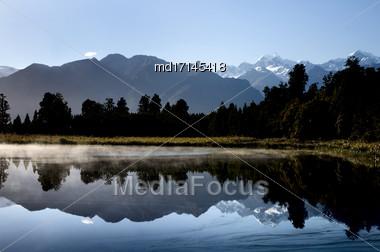 Lake Matheson New Zealand Fox Glacier Nature Walk Stock Photo