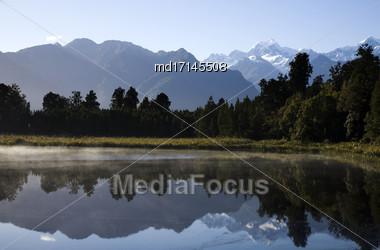 Lake Matheson New Zealand Fox Glacier Nature Walk Stock Photo