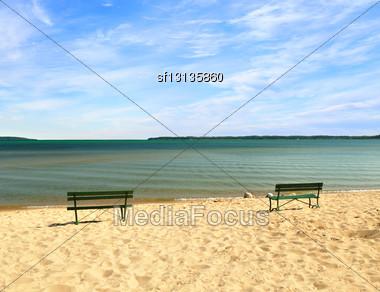 Lake Michigan Empty Beach With Benches Stock Photo