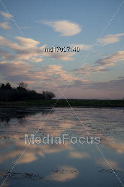 Lake Reflection Clouds Blue Sky Canada Scenic Stock Photo