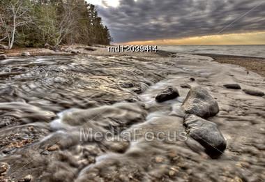 Lake Superior Northern Michigan Fall Autumn Beautiful Huricane River Stock Photo