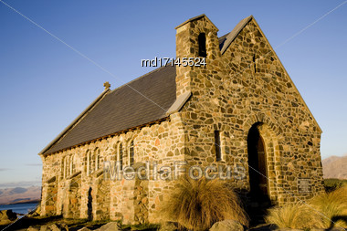 Lake Tekapo Church Of The Good Shepherd Stock Photo