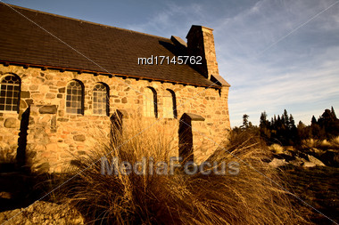Lake Tekapo Church Of The Good Shepherd Stock Photo