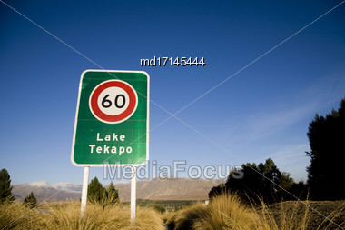 Lake Tekapo New Zealand Signage And Speed Limit Stock Photo