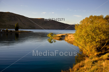 Lake Tekapo New Zealand Sunset Light On The Lake Stock Photo