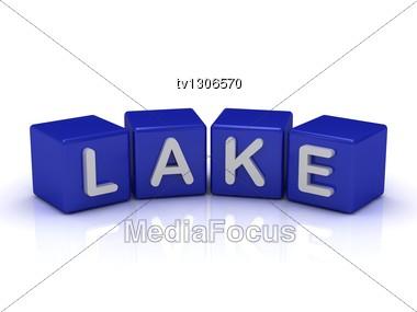 LAKE Word On Blue Cubes Stock Photo