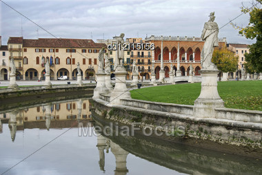 Landscape On Canal Public Square Padova In Italy Stock Photo