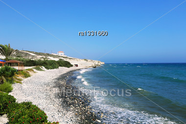 Landscape With Coastline And Beach In Cyprus Stock Photo