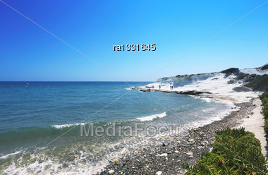 Landscape With Coastline And Rock In Cyprus Stock Photo