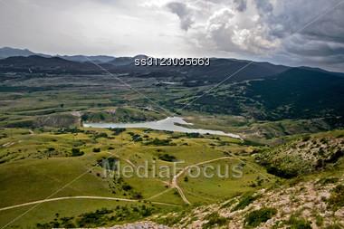 Landscape Of A Mountain Valley In Crimea, Ukraine Stock Photo