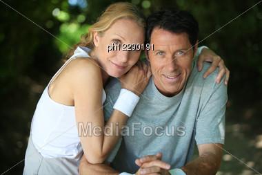 Landscape Of Tennis Couple Stock Photo