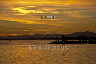 landscape with ships, maritime environment, of fishing, approaches the night Stock Photo