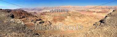 Landscapes And Geological Formations In The Timna Park In Southern Israel Stock Photo
