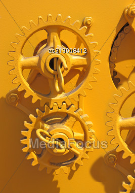 Large Chain Drive On A Seed Separator Machine. Stock Photo