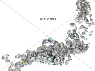 Large Diamonds Or Gems Flow Isolated Over Background Stock Photo