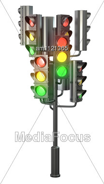 Large Group Of Traffic Lights On Single Stand Stock Photo
