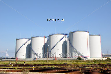 Large White Tanks For Petrol And Oil Stock Photo