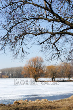 Last Ice On The Lake In The Spring In March Stock Photo