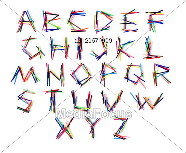 Latin Alphabet Letters From The Set Of Colored Felt-tip Pen Stock Photo