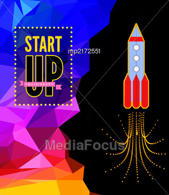 Launch Of A Space Rocket In The Drawing Style. Vector Illustration On Triangle Background Stock Photo