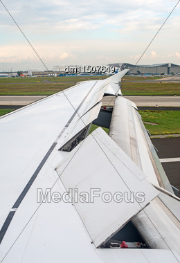 Launched Wing Mechanization. View From The Plane Stock Photo