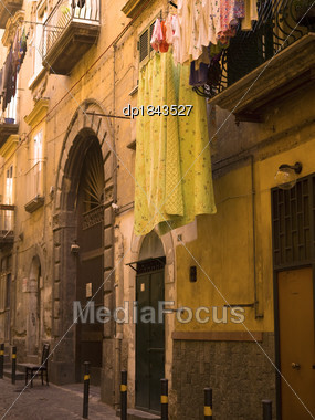 Laundry Drying, Naples, Italy Stock Photo