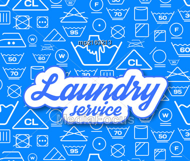 Laundry Service Vector Illustration On Blue Background Stock Photo