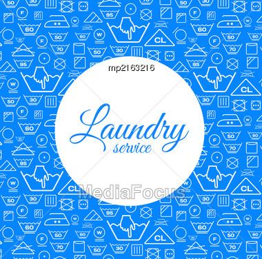 Laundry Service Vector Illustration On Blue Background Stock Photo