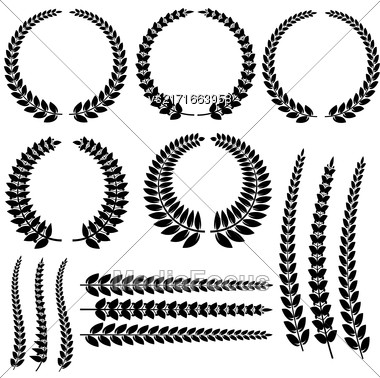 Laurel Wreath Set Isolated On White Background Stock Photo