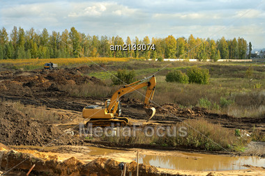 Laying Of A New Road On The Outskirts Of The City From Above Stock Photo