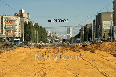 Laying Of Roads In The New District Of The City Of Lipetsk Stock Photo