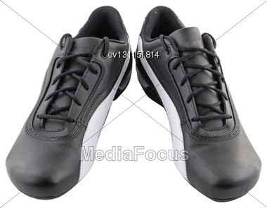 Leather Black Sneakers On White. Isolated Over White Stock Photo