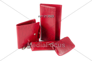 Leather Female Red Accessories On A White Stock Photo