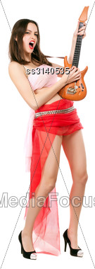 Leggy Woman In Red Skirt And Pink Top Playing The Toy Guitar. Isolated On White Stock Photo