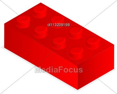 Lego. Red Plastic Building Block Stock Photo