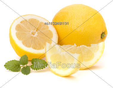 Lemon And Citron Mint Leaf Isolated On White Background Stock Photo