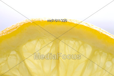 Lemon Slice Close Up Macro Studio Shot Stock Photo