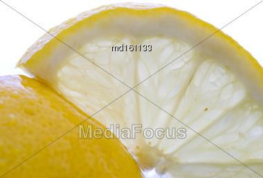 Lemon Slice Close Up Macro Studio Shot Stock Photo