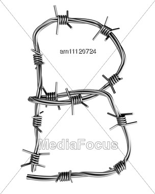 Letter B Made From Barbed Wire Stock Photo