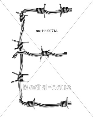 Letter E Made From Barbed Wire Stock Photo